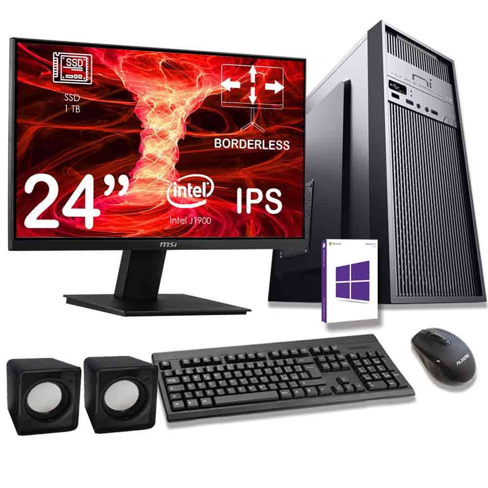 Kit pc desktop windows 10 intel quad core 16gb ram ssd 1tb monitor incluso