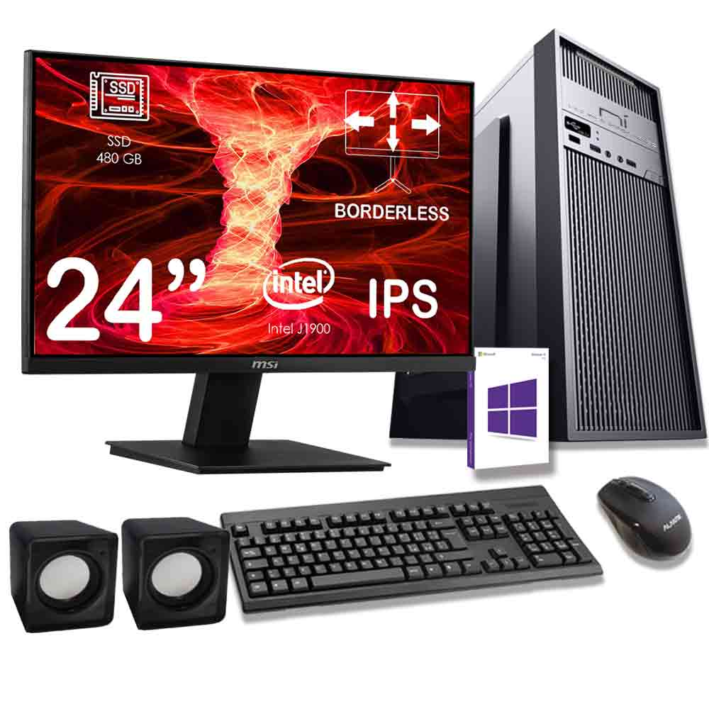 Kit pc desktop windows 10 intel quad core 16gb ram ssd 480gb monitor incluso