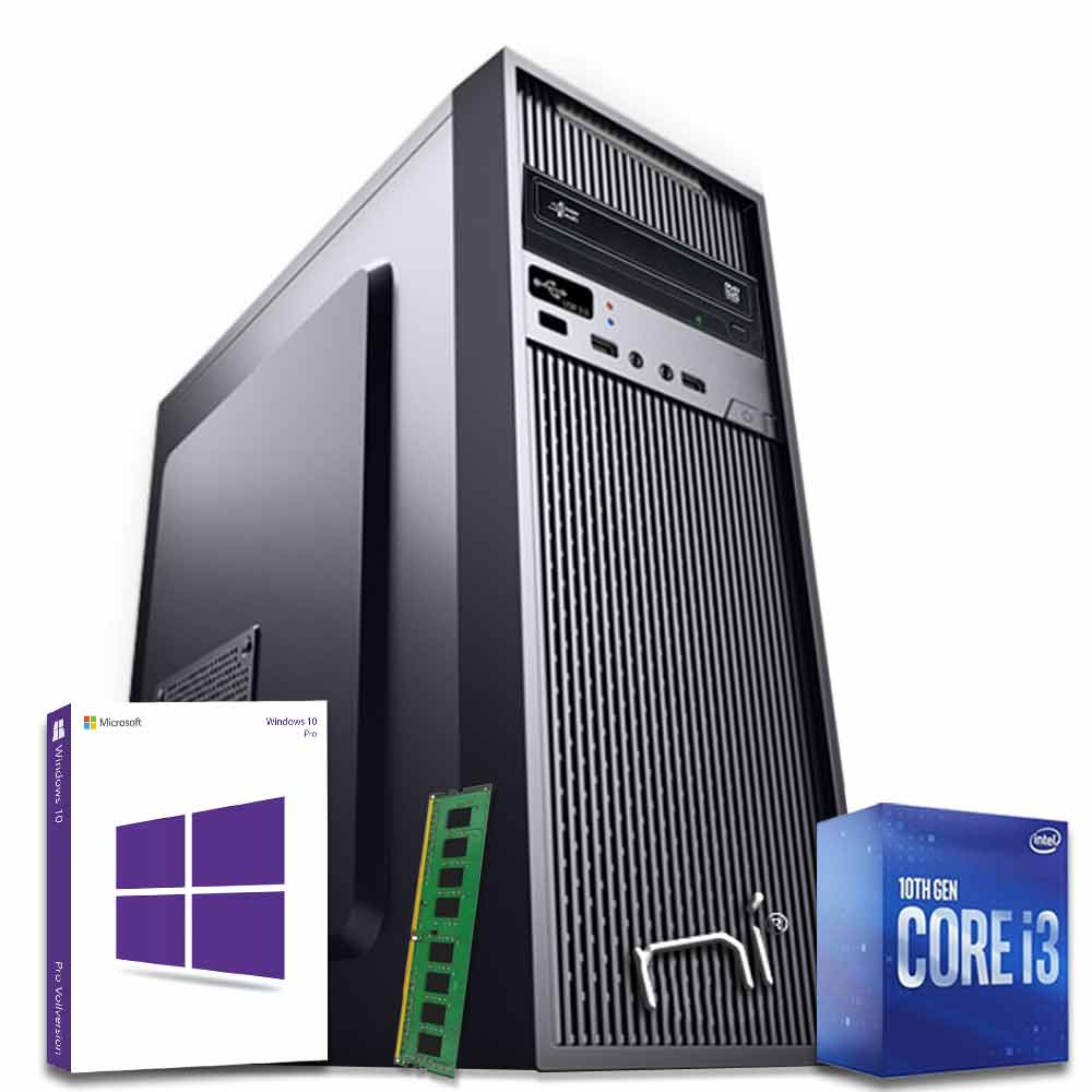 Pc fisso intel i3-10100 quad-core 8gb ram hard disk 1tb win 10 pro licenziato