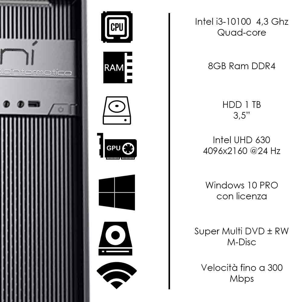 Pc Fisso Intel i3-10100 quad-core 8gb ram hard disk 1tb win 10 pro licenziato foto 3