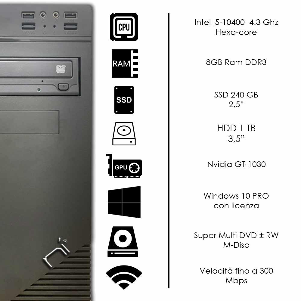 Pc Desktop Intel i5-10400 windows 10 pro nvidia gt1030 8gb ram hdd 1tb ssd 240gb foto 3