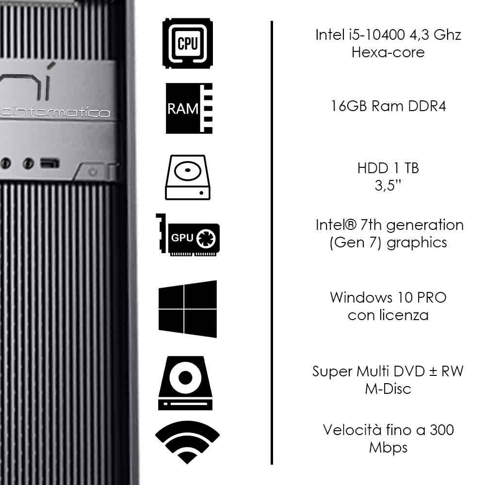 Pc fisso completo Intel i5-10400 hexa-core 16gb ram hard disk 1TB WiFi HDMI foto 3