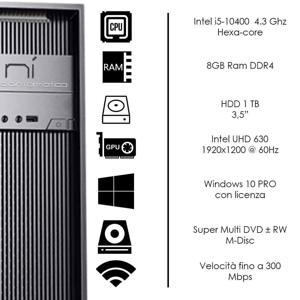Pc fisso Windows 10 con licenza Intel i5-10400 hexa-core 8gb ram hard disk 1TB foto 3