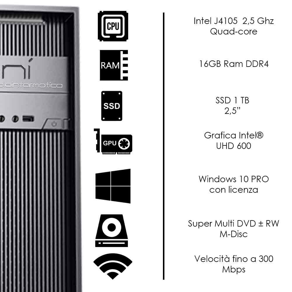 Pc Desktop Intel quad core 16gb ram DDR4 ssd 1tb Windows 10 con licenza WiFi foto 3