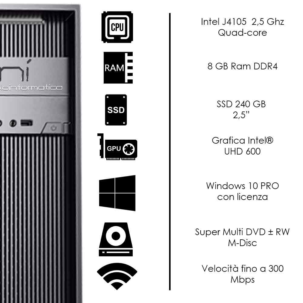 Pc Desktop Windows 10 con licenza Intel quad core 8gb ram DDR4 ssd 240 gb WiFi foto 3