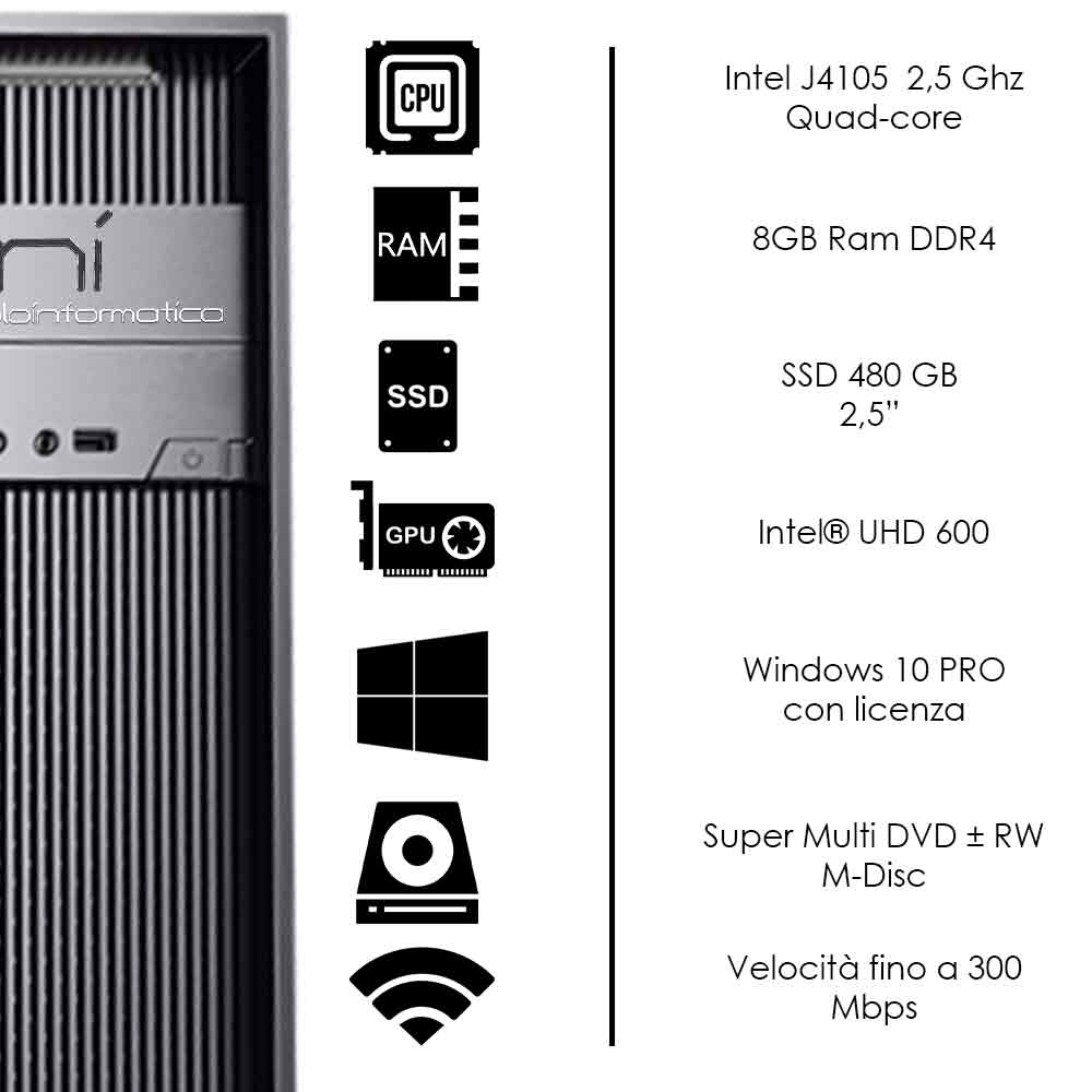 Pc Desktop Windows 10 con licenza Intel quad core 8gb ram DDR4 ssd 480 gb WiFi foto 3