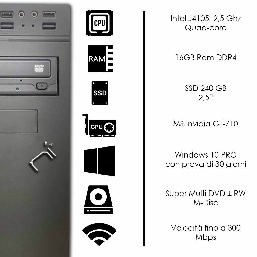 Pc fisso Pulsar Intel quad core 16gb ram DDR4 ssd 240gb nvidia gt 710 WiFi HDMI foto 3