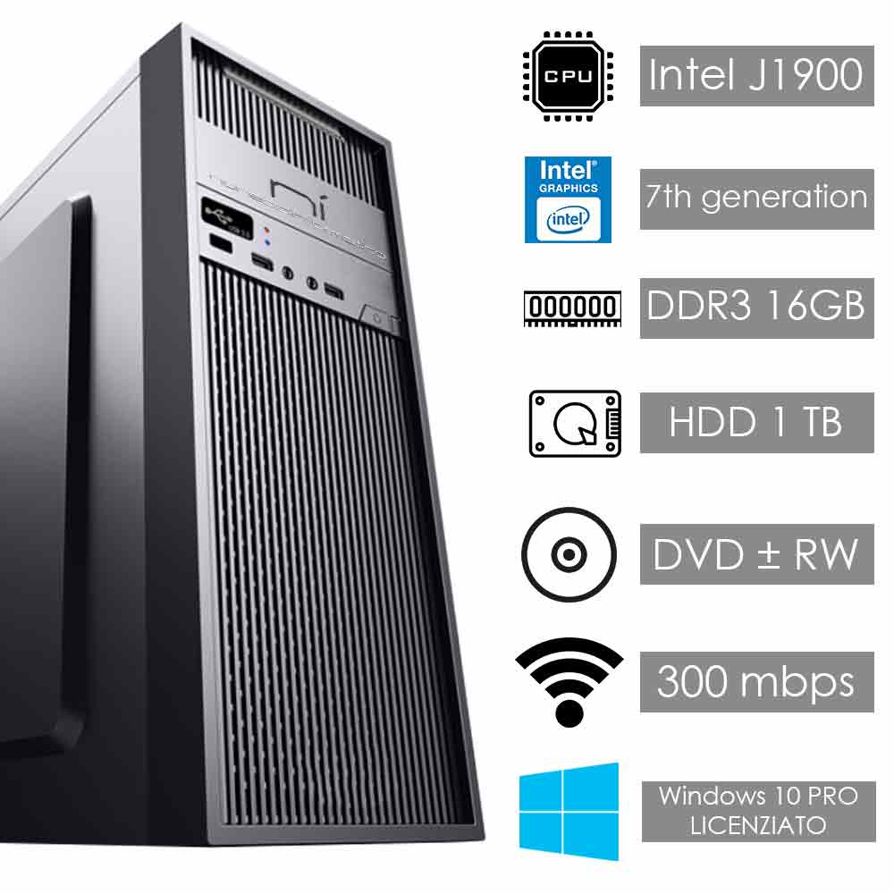 Pc fisso Windows 10 con licenza Intel quad core 16gb ram hard disk 1tb WiFi HDMI