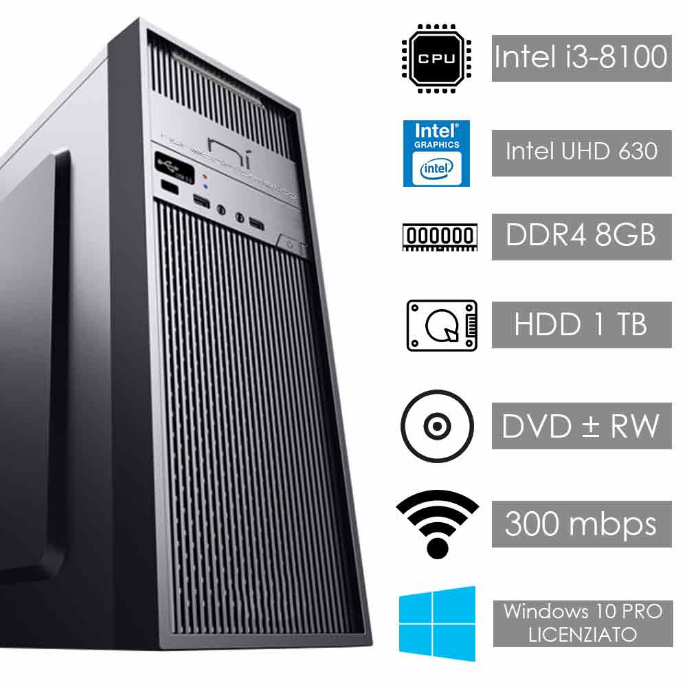 Pc desktop windows 10 con licenza intel i3 8100 8gb ram hard disk 1tb wifi hdmi