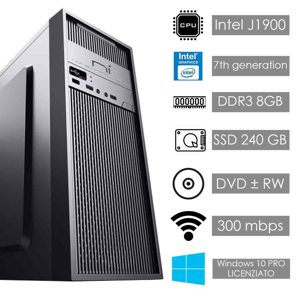 Pc fisso pulsar intel quad core 8gb ram ssd 240gb wifi hdmi assemblato