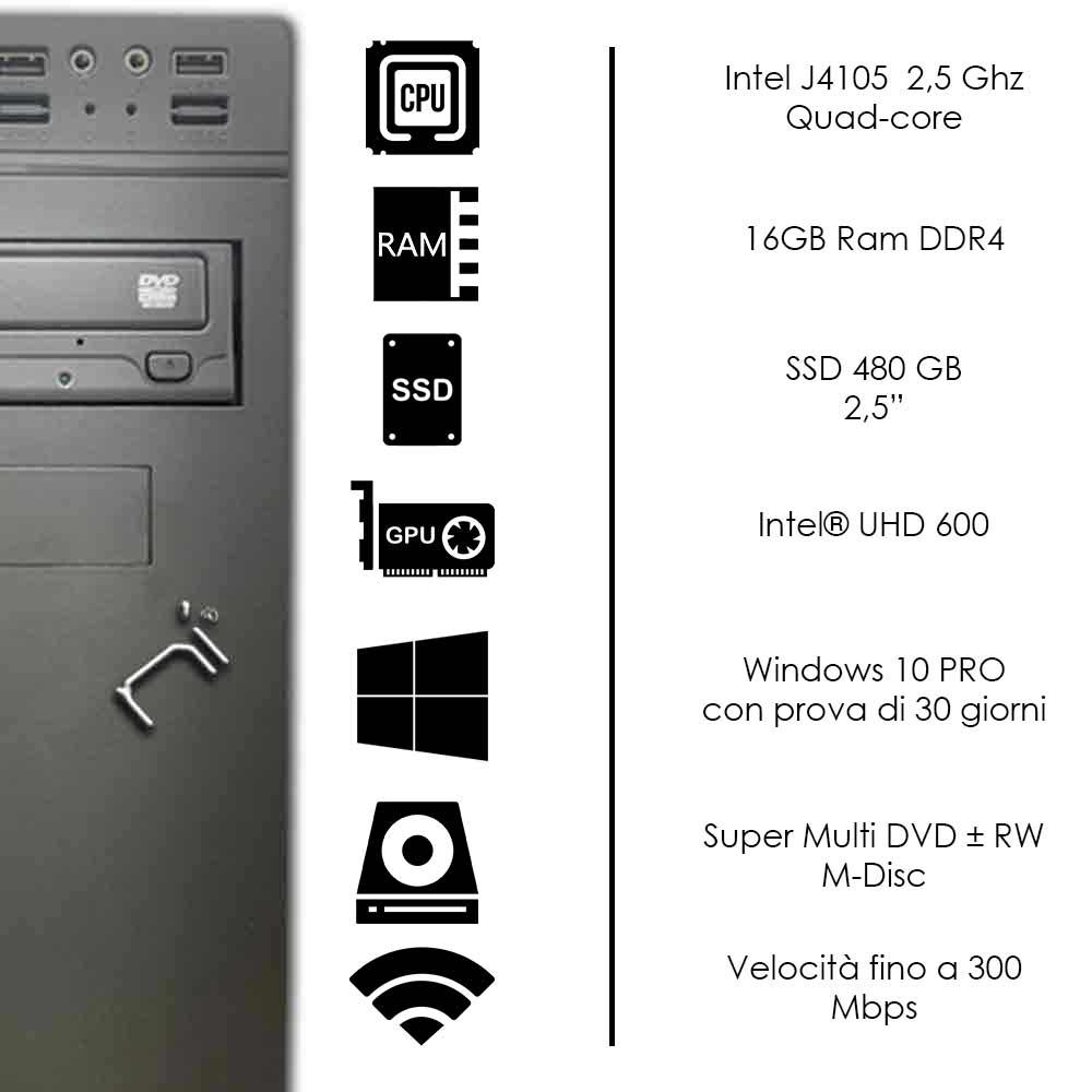 Pulsar Pc fisso Veloce Intel quad core 16gb ram DDR4 ssd 480gb WiFi Windows 10 foto 3