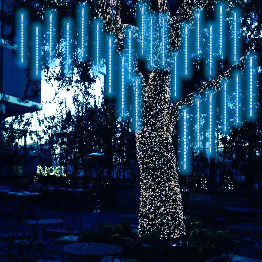 Luci di natale led, 8 tubi catena luminosa meteoriti luce fredda alberi balconi foto 2