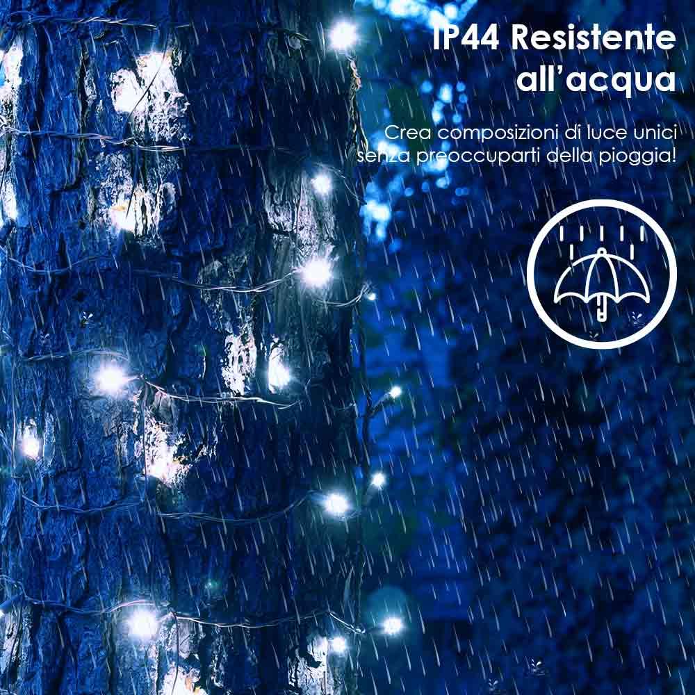 Luci di natale esterno e interno fredde 180 led per albero siepi balconi foto 3