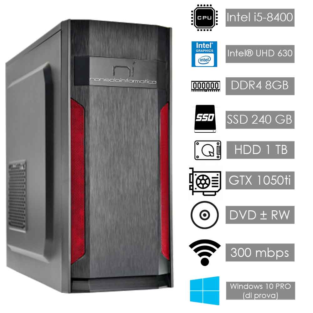 Pc fisso intel i5-8400 8gb ram hdd 1tb ssd 240gb nvidia gtx 1050ti wifi hdmi