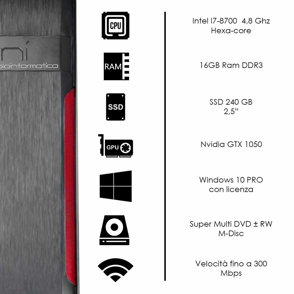 Pc fisso Windows 10 con licenza intel i7-8700 16gb ram ssd 240gb nvidia gtx 1050 foto 3