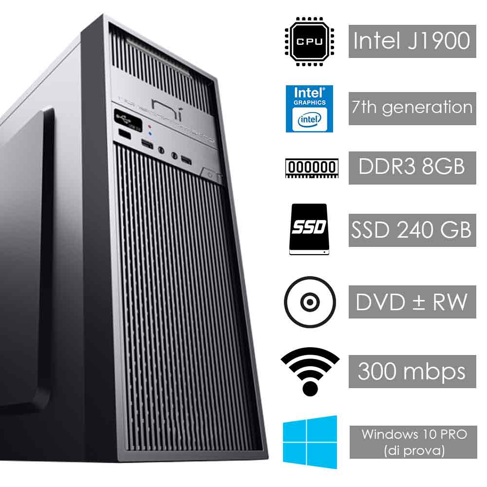 Pc fisso windows 10 intel quad core 8gb ram ssd 240gb wifi hdmi
