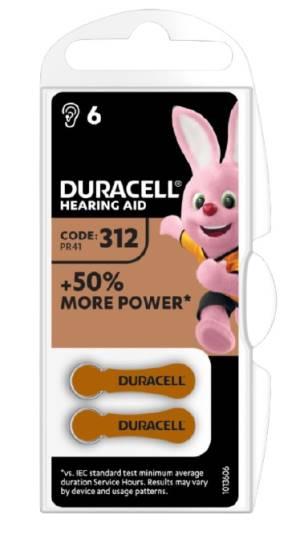 Duracell activeair batterie acustiche medical da312 6pz