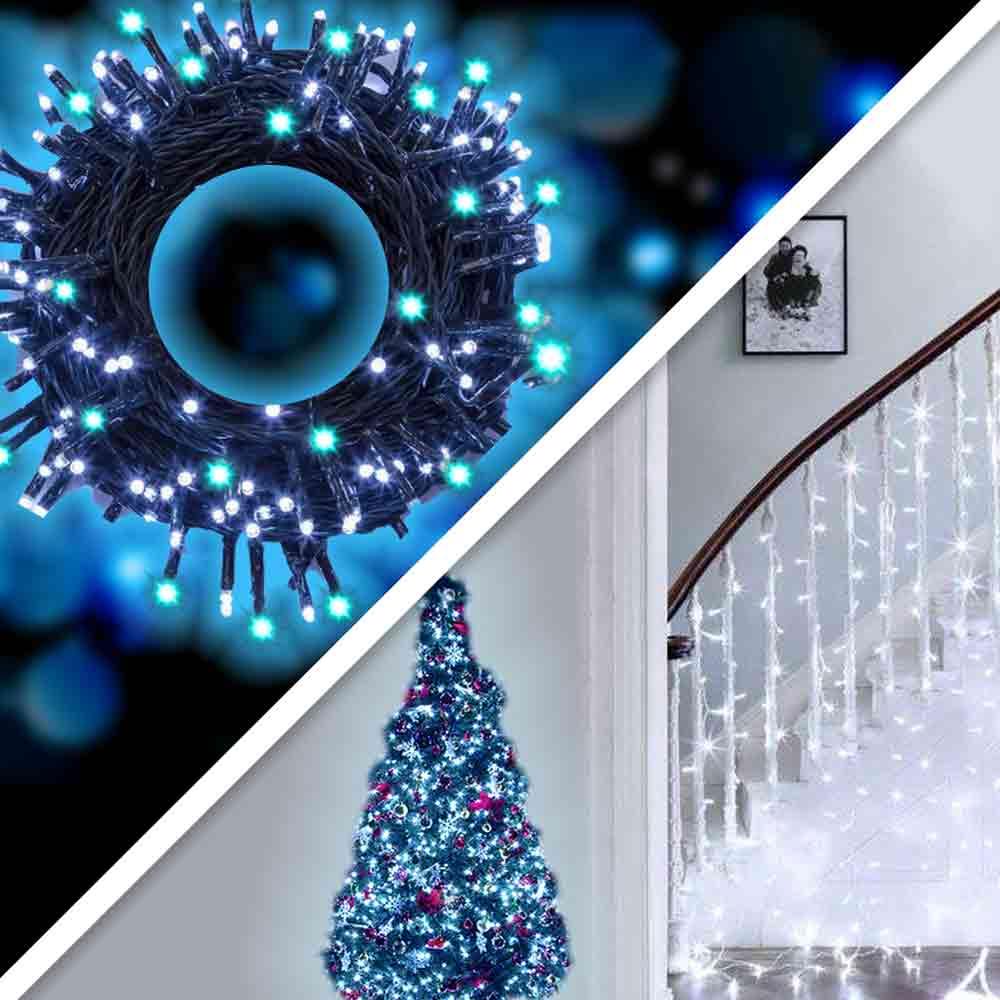 Luci di natale esterno e interno fredde 180 led per albero siepi balconi