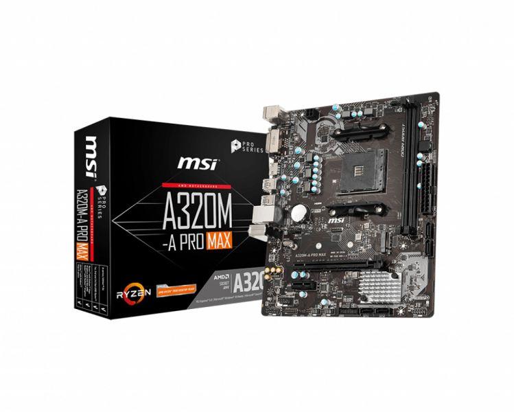 MB MSI A320M-A PRO MAX AM4 RYZEN 2D4 4S3 6U3 PCIE GBLAN DVI/HDMI foto 2