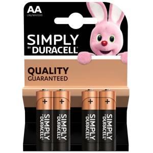 Duracell simply batterie stilo lr6 mn1500 aa alcaline 4pz