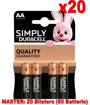 Duracell simply batterie stilo lr6 mn1500 aa alcaline 80pz