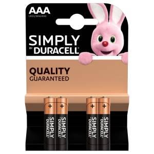 Duracell simply batterie mini stilo lr03 mn2400 aaa alcaline 4pz
