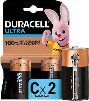 Duracell ultra batterie mezza torcia lr14 mx1400 c alcaline 2pz