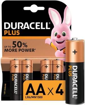 Duracell plus batterie stilo lr6 mn1500 aa alcaline 4pz