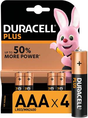 Duracell plus batterie mini stilo lr03 mn2400 aaa alcaline 4pz