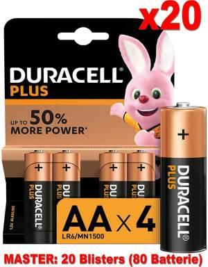 Duracell plus batterie stilo lr6 mn1500 aa alcaline 80pz