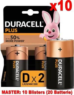 Duracell plus batterie torcia lr20 mn1300 d alcaline 20pz