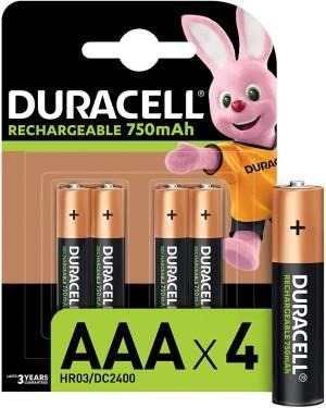Duracell plus ricaricabili batterie mini stilo 750mah hr03 dc2400 aaa 4pz