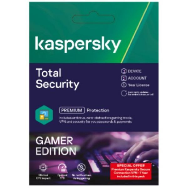 TOTAL SECURITY 2USER GAMER MODE PC/MAC/ANDROID 2021 KASPERSKY