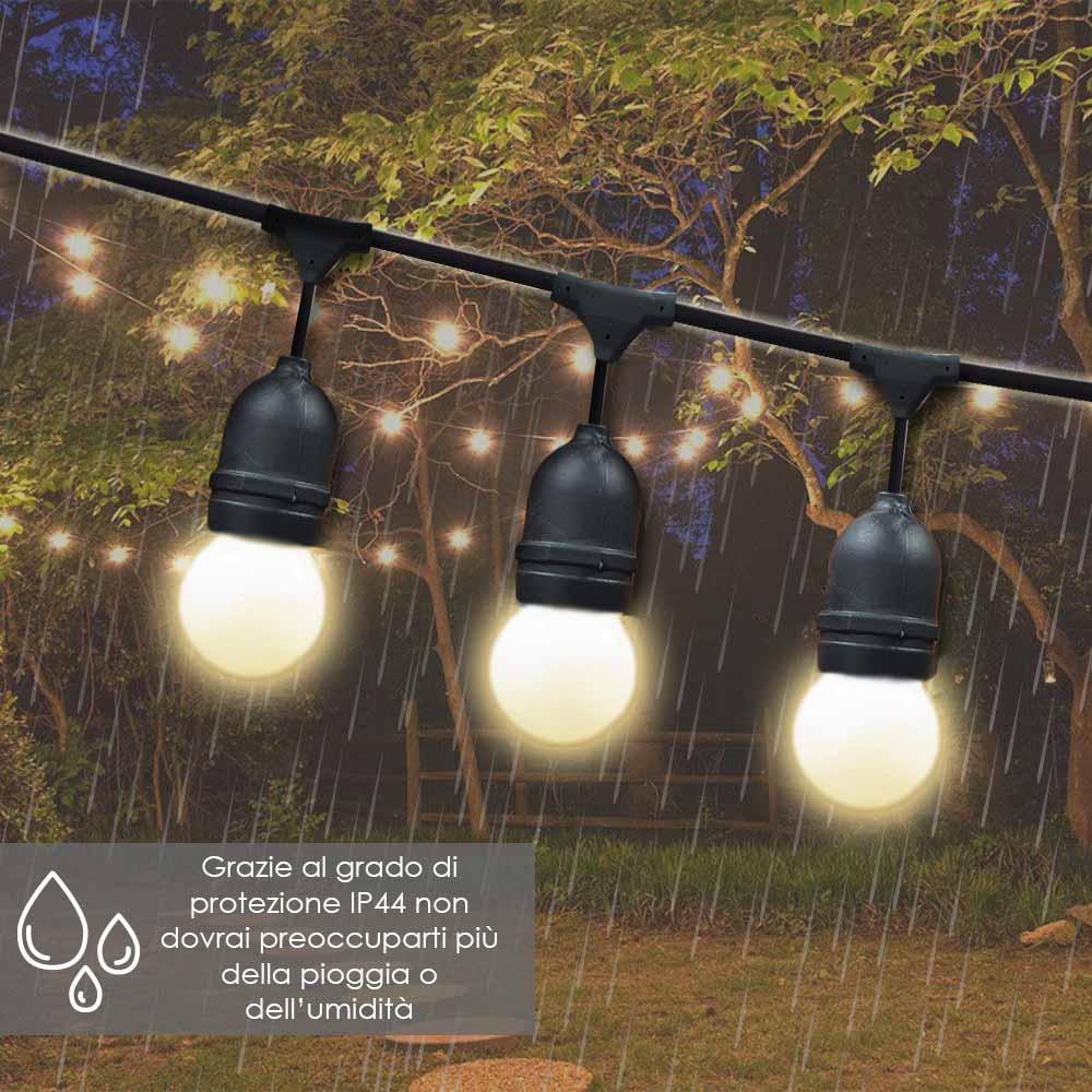 Catena luminosa esterno 10mt uso giardino terrazza feste luce giallo caldo foto 5