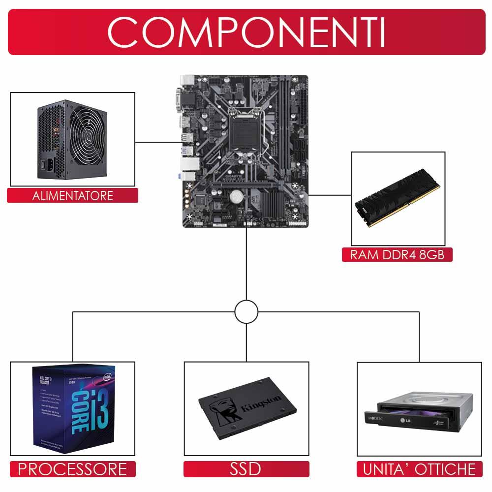 Pc gaming intel core i3 8100 Ram 8gb Ssd 240 scheda grafica Nvidia gt-710 da 2gb foto 3
