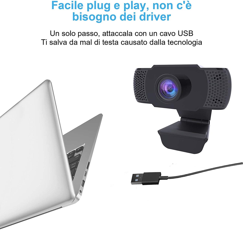 Webcam 1080P con Microfono, Webcam PC Laptop Desktop Computer USB 2.0 con Clip foto 6