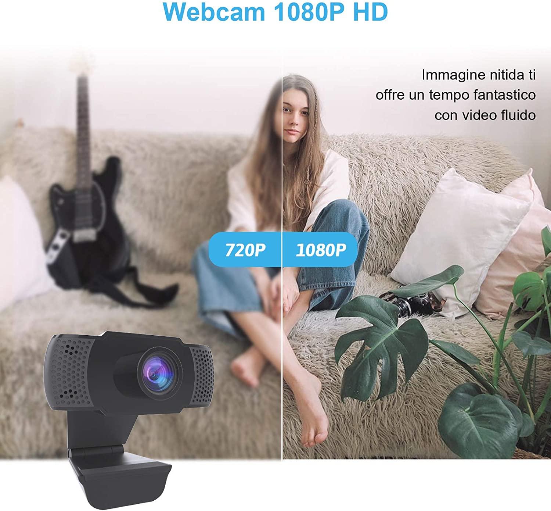 Webcam 1080P con Microfono, Webcam PC Laptop Desktop Computer USB 2.0 con Clip foto 4