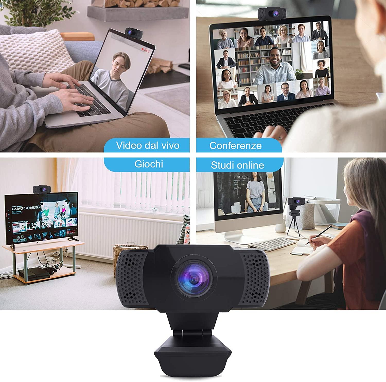 Webcam 1080P con Microfono, Webcam PC Laptop Desktop Computer USB 2.0 con Clip foto 5