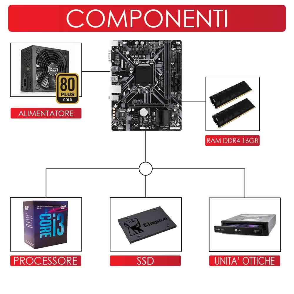 Pc gaming intel core i3 8100 scheda grafica Nvidia gt-1030 2gb Ram 16gb Ssd 240 foto 3