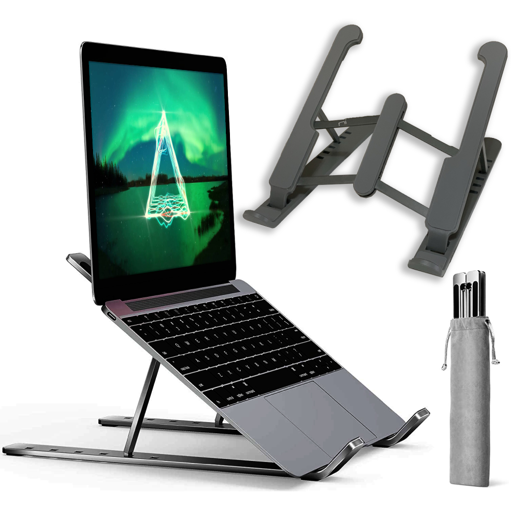 Supporto pc portatile tablet 6 livelli regolazione antiscivolo ergonomico