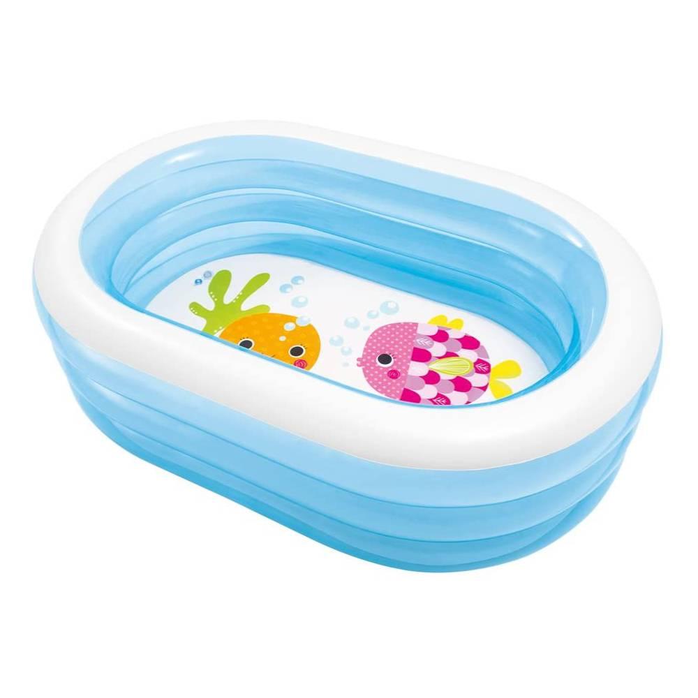 Piscina gonfiabile bagnetto intex per bambini ovale +3 anni 163x107x46 cm - 5748