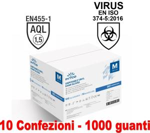 Guanti vinyl senza polvere 10 conf. da 100pz taglia m uso medico