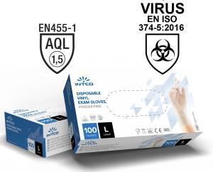 Guanti vinyl senza polvere 100pz taglia l uso medico