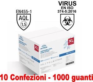 Guanti vinyl senza polvere 10 conf. da 100pz taglia xl uso medico