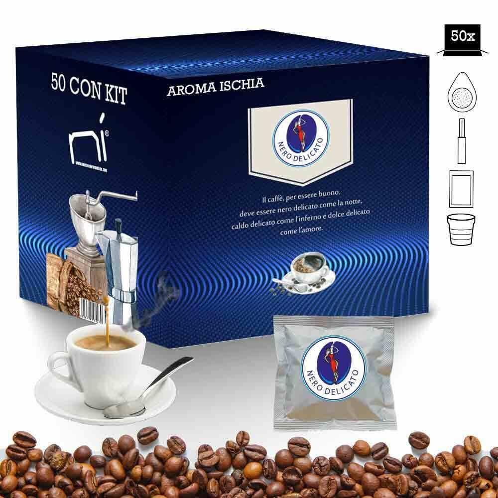Kit cialde caffe' aroma ischia con kit 50 pz