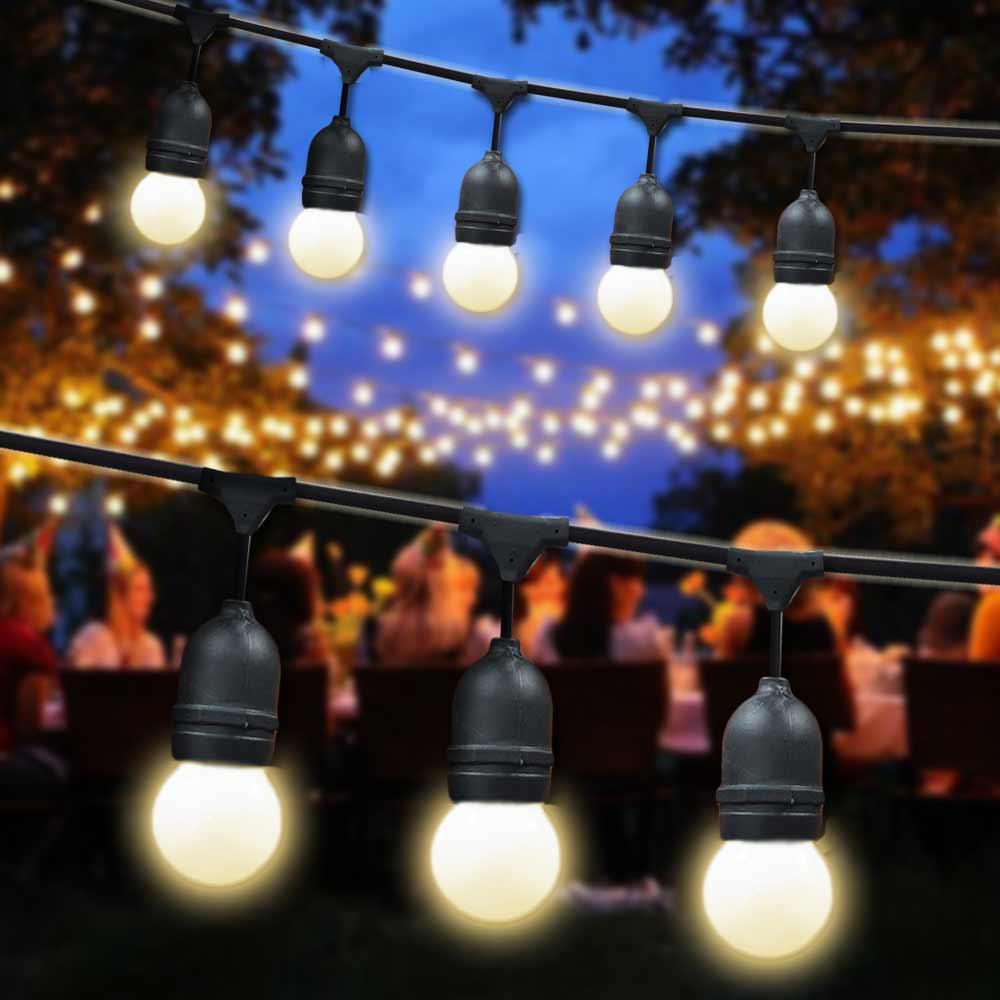 Catena luminosa esterno 10mt uso giardino terrazza feste luce giallo caldo foto 2
