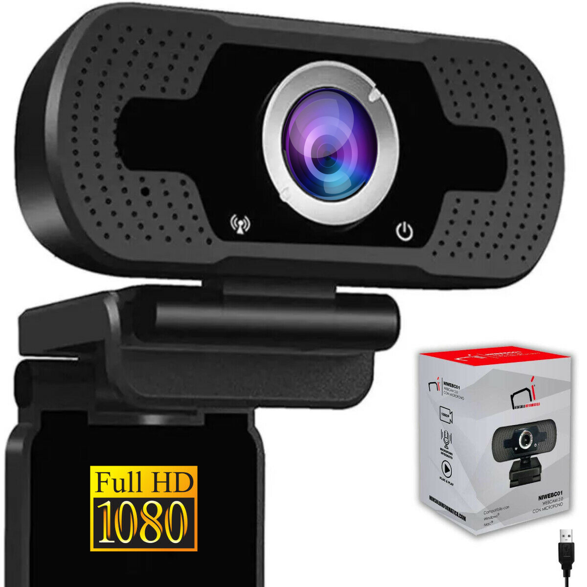Webcam pc con microfono full hd smart working skype video camera per pc