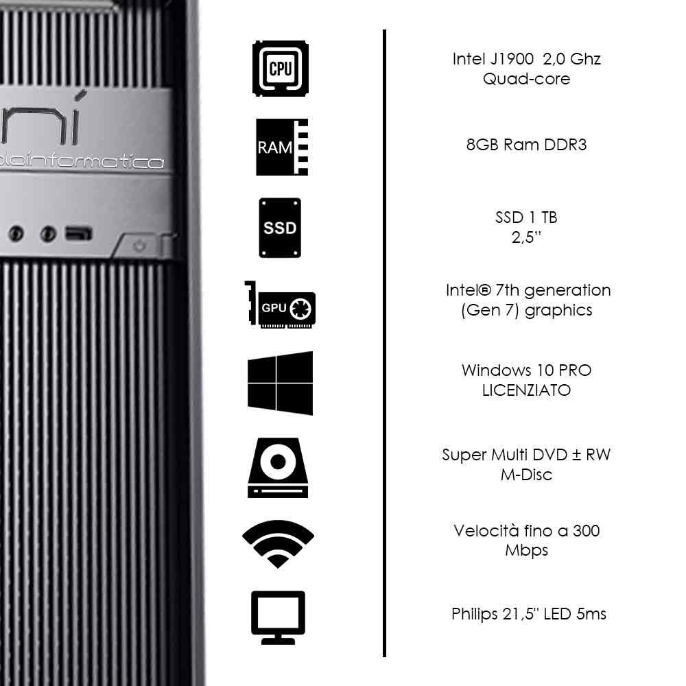 Kit completo pc desktop Windows 10 licenziato Intel quad core 8gb ssd 1tb foto 3