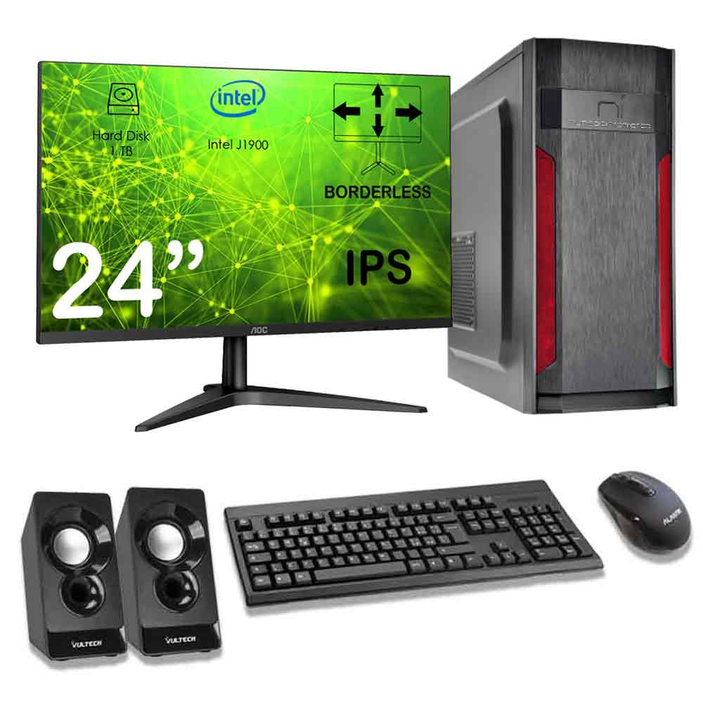 Kit pc desktop windows 10 intel quad core 8gb ram hard disk 1tb monitor incluso