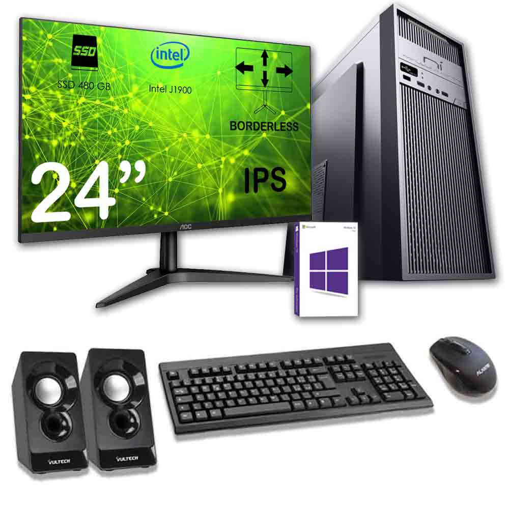 Kit pc desktop windows 10 licenziato intel quad core 8gb ssd 480gb